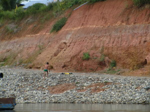 The water level can fall an astonishing height from wet season to dry.
