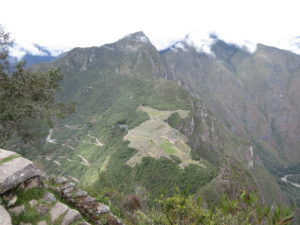 A thousand feet below us, you can see the main Machu Picchu site. To the left are the rollercoaster-worthy switchbacks of Bingham Highway.