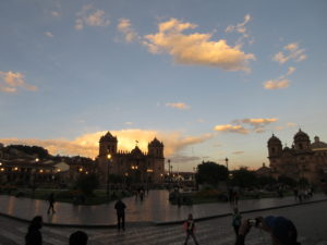 A gorgeous day in Cuzco gives way to dusk.